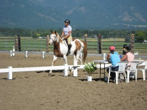 Carrie Allen judging Dressage at Eastern Slope Ranch
